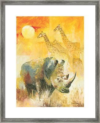 The White Rhino Framed Print by Christiaan Bekker