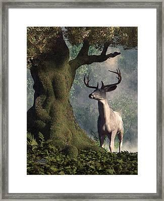 The White Stag Framed Print by Daniel Eskridge
