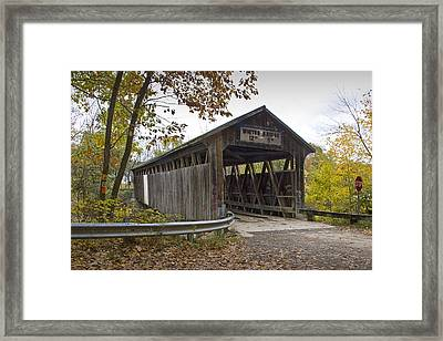 The Whites Covered Bridge On The Flat River Near Lowell In Michigan Framed Print