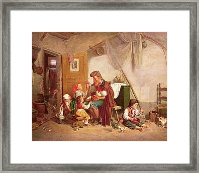 The Widowed Family, 19th Century Framed Print by Giuseppe Mazzolini