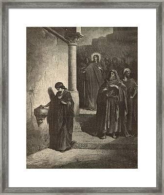 The Widow's Mite Framed Print by Antique Engravings
