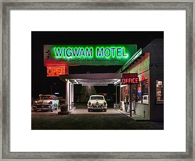 The Wigwam Motel Neon Framed Print