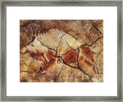 The Wild Boar-cave Art Framed Print by Dragica  Micki Fortuna