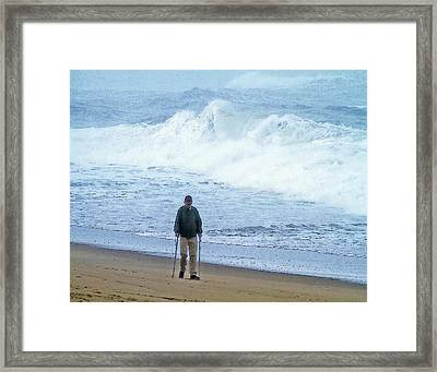 The Will Of Man And The Power Of Sea Framed Print by Constantine Gregory