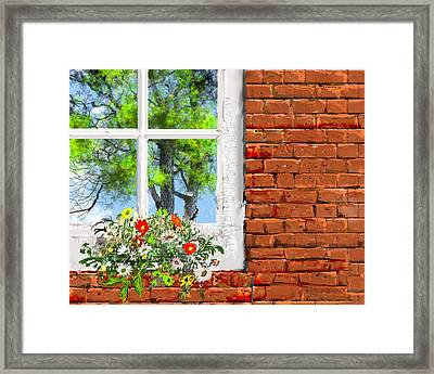 The Window Triptych Summer Framed Print by Jim Hubbard