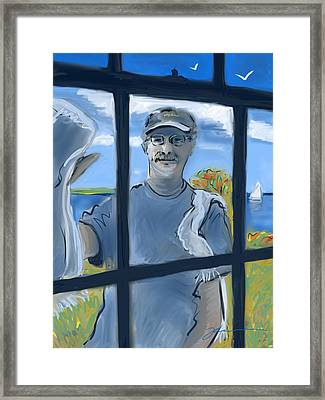 The Window Washer Framed Print by Jean Pacheco Ravinski