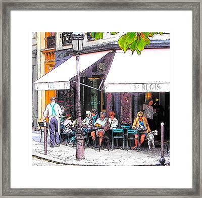 The Wine Bar In Paris Framed Print by Jan Matson