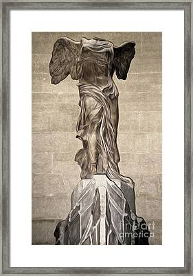 The Winged Victory Of Samothrace Marble Sculpture Of The Greek Goddess Nike Victory Framed Print by Gregory Dyer