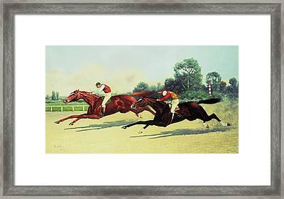 The Winning Post In Sight Framed Print by Henry Stull