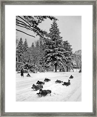 The Winter's First Snow Brings Joy To The Children Framed Print