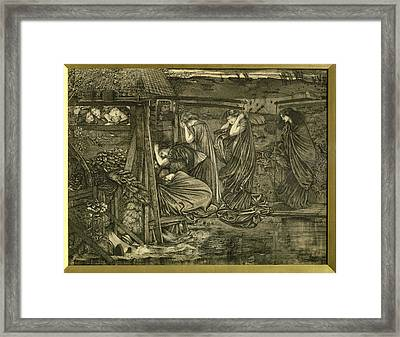 The Wise And Foolish Virgins Etching Framed Print by Sir Edward Coley Burne-Jones