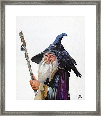 The Wizard And The Raven Framed Print by J W Baker