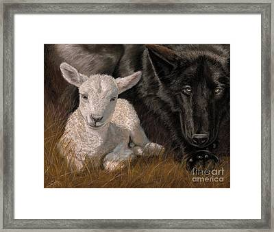 Framed Print featuring the painting The Wolf And The Lamb by Sheri Gordon