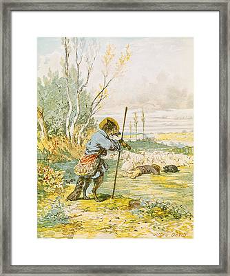 The Wolf As A Shepherd Framed Print by Jules David
