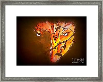 The Wolf Is Watching Framed Print by Justin Moore