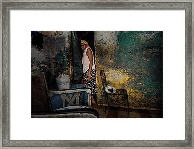 The Woman & The Cat Framed Print