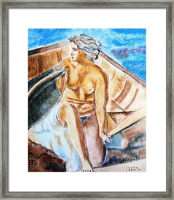 The Woman Rower Framed Print by Jasna Dragun