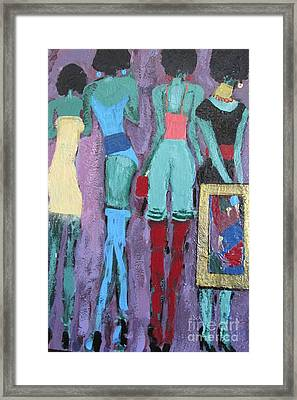 The Woman With The Golden Frame Framed Print by Omar Hafidi