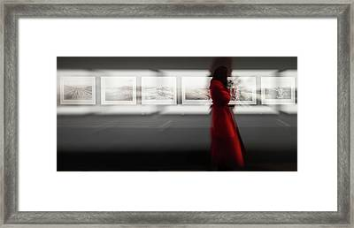The Woman With The Red Coat Framed Print