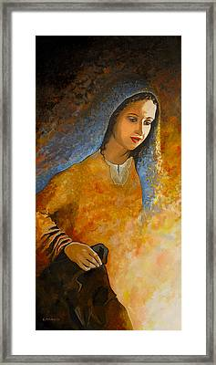 The Wonderment Of Mary - Virgin Mary Madonna Mother Of Jesus Christ Child Framed Print by Carla Holiday