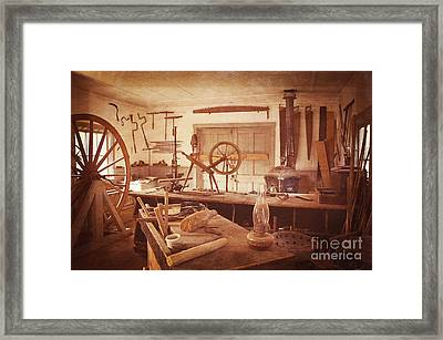 The Wood Workers Shop Vintage Framed Print by Lee Craig