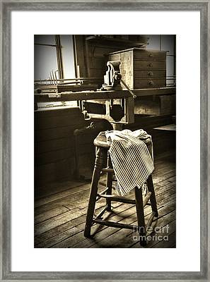 The Wooden Stool In Black And White Framed Print by Paul Ward