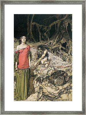 The Wooing Of Grimhilde The Mother Of Hagen From 'siegfried And The Twilight Of The Gods Framed Print by Arthur Rackham