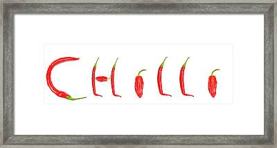 The Word  Chilli  Spelled With Red Framed Print by John Short