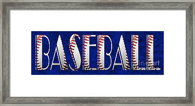 The Word Is Baseball On Blue Framed Print by Andee Design