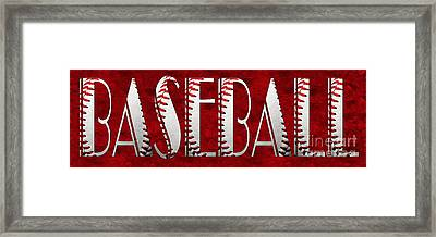 The Word Is Baseball On Red Framed Print by Andee Design
