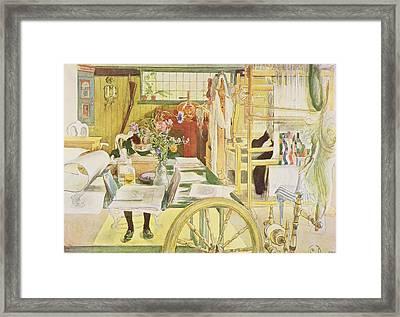 The Workroom, Pub. In Lasst Licht Hinin Framed Print by Carl Larsson