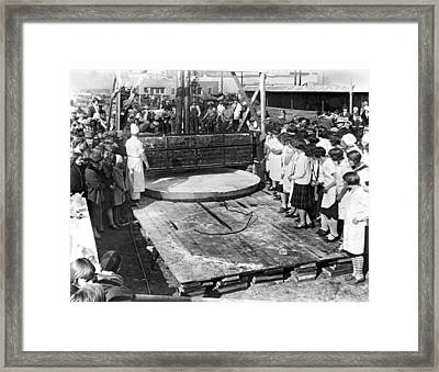 The World's Largest Apple Pie Framed Print by Underwood Archives