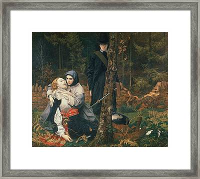 The Wounded Cavalier, 1855 Oil On Canvas Framed Print by William Shakespeare Burton