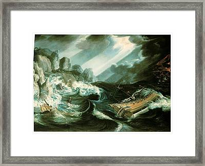 The Wreck Of The Amsterdam Framed Print by Flemish School