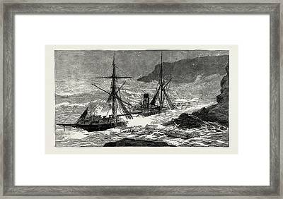The Wreck Of The Cunard Steamship Malta Off Cape Cornwall Framed Print