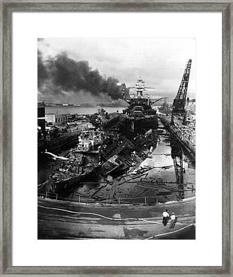 The Wreckage Of The Destroyers Uss Framed Print