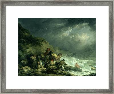 The Wreckers Framed Print by George Morland