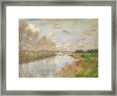 The Yacht At Argenteuil, 1875 Oil On Canvas Framed Print by Claude Monet
