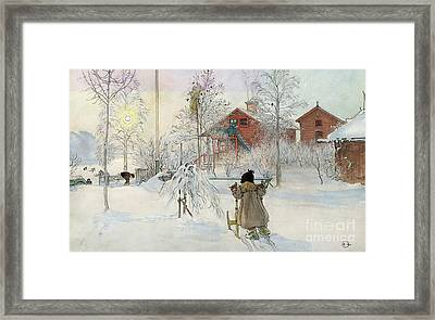 The Yard And Wash House Framed Print by Carl Larsson