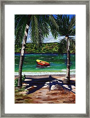 Framed Print featuring the painting The Yellow And Red Boat by Laura Forde
