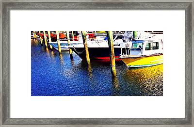 The Yellow Boat - Coastal Art By Sharon Cummings Framed Print by Sharon Cummings