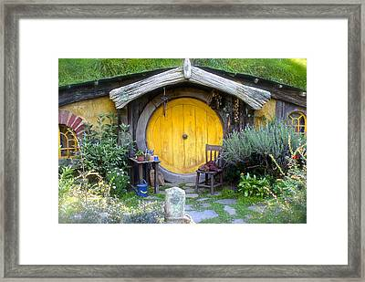 Yellow Hobbit Door Framed Print
