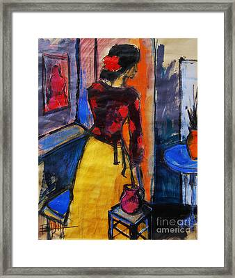 The Yellow Skirt - Pia #9 - Figure Series Framed Print by Mona Edulesco