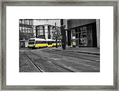 The Yellow Train Of Dallas Framed Print by Kathy Churchman