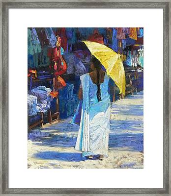 The Yellow Umbrella Framed Print by Jackie Simmonds