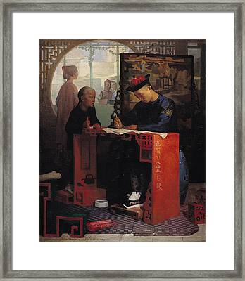 The Young Chinese Scribe Oil On Canvas Framed Print by Theodore Delamarre