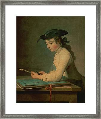 The Young Draughtsman, 1737 Framed Print by Jean-Baptiste Simeon Chardin