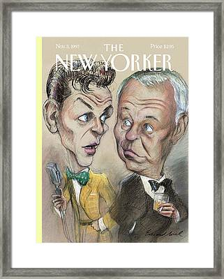 The Young Frank Sinatra Looking At The Old Frank Framed Print