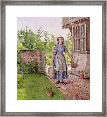 The Young Milkmaid Framed Print by George Goodwin Kilburne