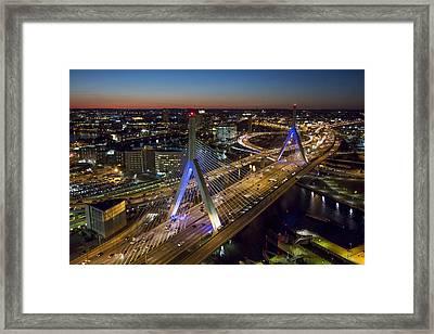 The Zakim Bridge At Night. Framed Print